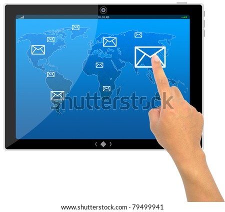 The best PC tablet computer and hand pushing a e-mail button on a touch - stock photo