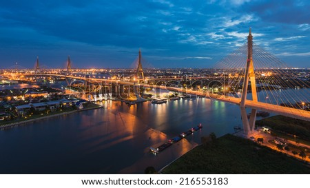 The Bhumibol Bridge also known as the Industrial Ring Road Bridge, at twilight, Bangkok, Thailand. - stock photo