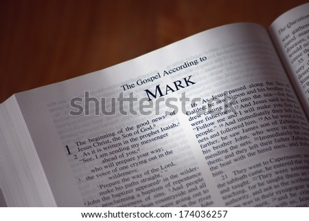 The Bible Opened To The Book Of Mark - stock photo