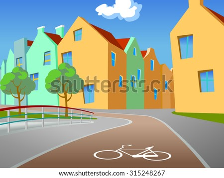 The bicycle path. Illustration of the bicycle path in an european city with fence, trees,  footpath and buildings in the background. Empty space leaves room for design elements, custom signs or text. - stock photo