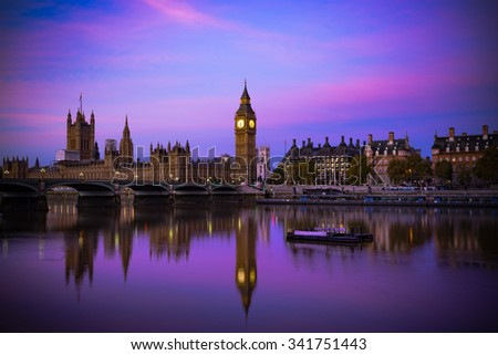 The Big Ben and House of Parliament viewed at sunrise in London. England  - stock photo