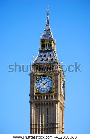 The Big Ben clock tower by day, London, United Kingdom - stock photo