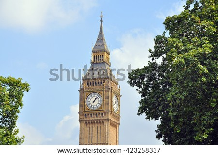 The Big Ben in London, England. / Dial of the clock tower Big Ben in in Westminster, London (closeup). - stock photo