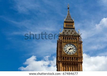 The Big Ben in London, in summer 2010 - stock photo