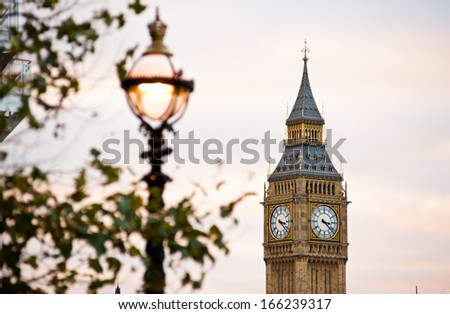 The Big Ben in Westminster and lamplight in London - stock photo