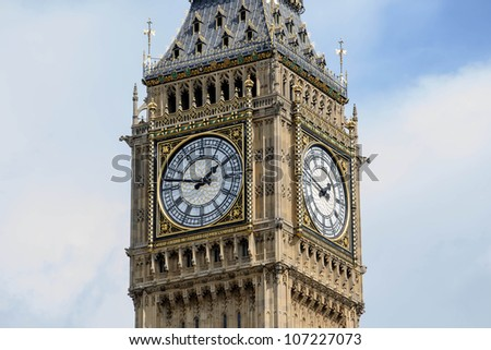 The Big Ben is part of the structure of the Houses of Parliament in London. The Clock Tower is now named Elizabeth Tower in honor of Queen Elizabeth's 60 years on the throne. - stock photo