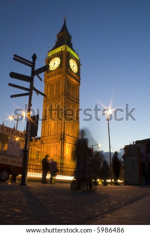 the Big Ben London attraction at night - stock photo