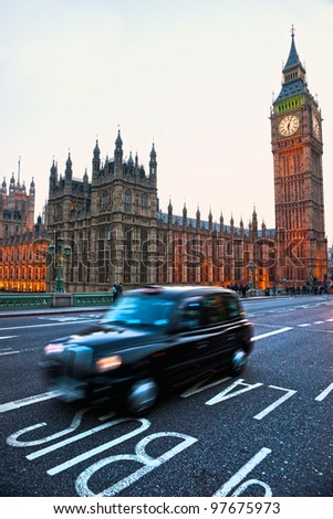 The Big Ben, the House of Parliament and the Westminster Bridge, London, UK. - stock photo