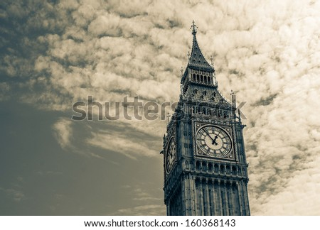 The Big Ben Tower in London, UK - Split toned - stock photo