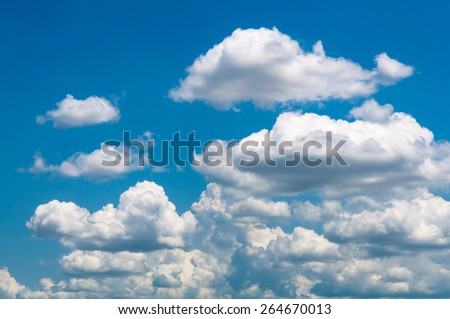 the big clouds at the blue sky. - stock photo