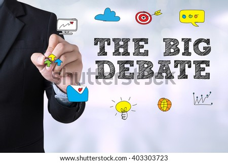 THE BIG DEBATE Businessman drawing Landing Page on blurred abstract background - stock photo
