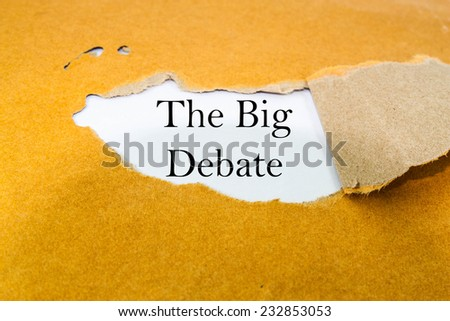 The big debate concept on brown envelope  - stock photo