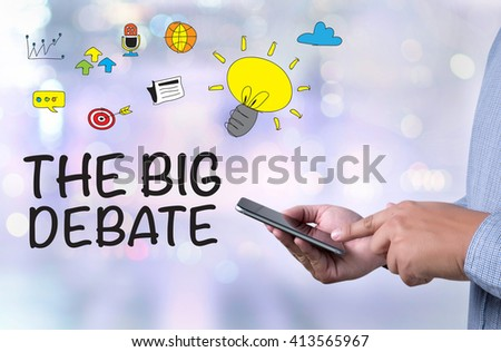 THE BIG DEBATE person holding a smartphone on blurred cityscape background - stock photo