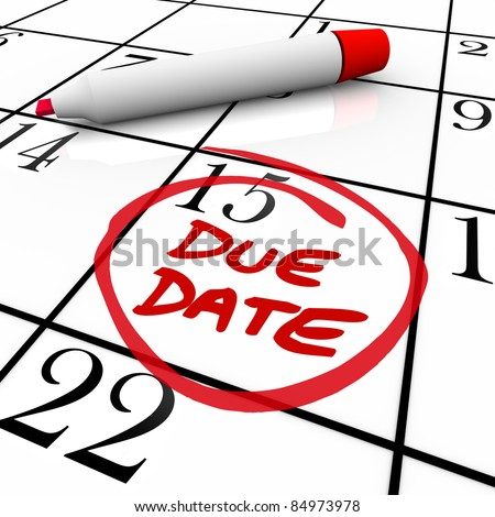 The big Due Date day, the 15th,  circled on a white calendar with a red marker, as a reminder of the date your project must be completed and submitted or the date you expect to deliver your baby - stock photo