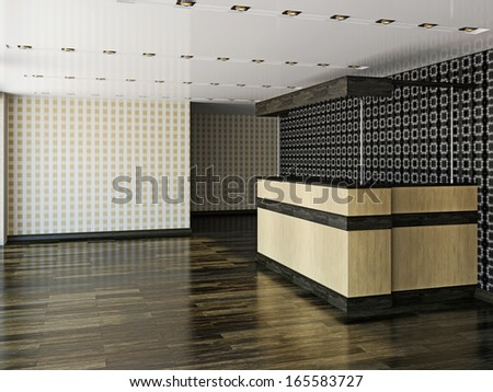 The big empty hall with counter - stock photo