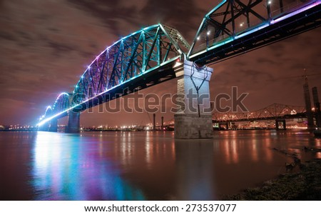 The Big Four Bridge is a six-span former railroad truss bridge that crosses the Ohio River, connecting Louisville, Kentucky, and Jeffersonville, Indiana, United States - stock photo