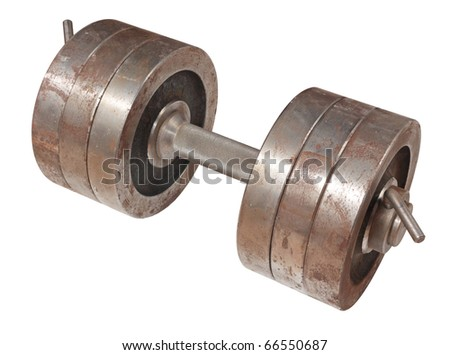 The big heavy old rusty dumbbell, it is isolated on a white background - stock photo