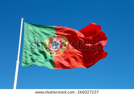 The big national flag of Portugal at the Eduardo vii park in Lisbon - stock photo