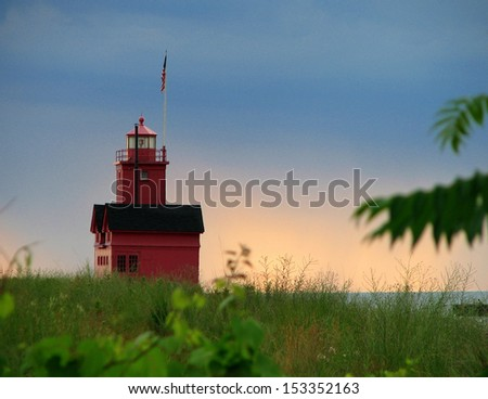The Big Red Lighthouse, Holland, Michigan. - stock photo