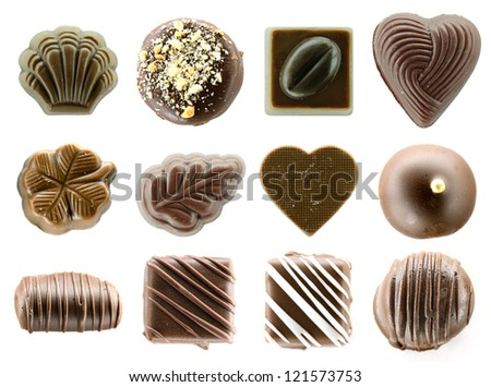 The big set of chocolate cookies - stock photo