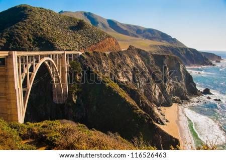 The Big Sur and its rocky coastline on a bright beautiful day - stock photo