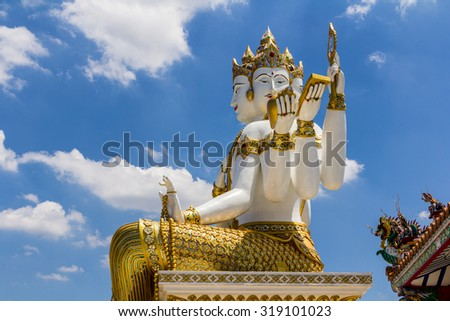 The biggest Brahma, the Hindu God of Creation, is located at Samanrattanaram Temple. - stock photo