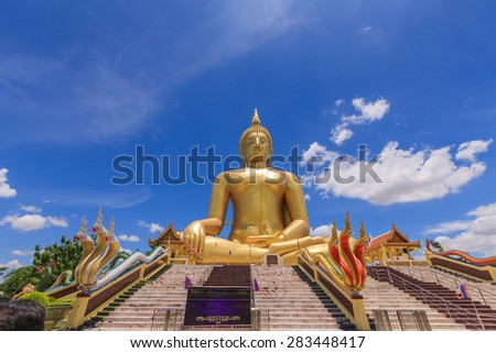 The Biggest Buddha statue at Wat Muang Ang thong temple in Thailand - stock photo
