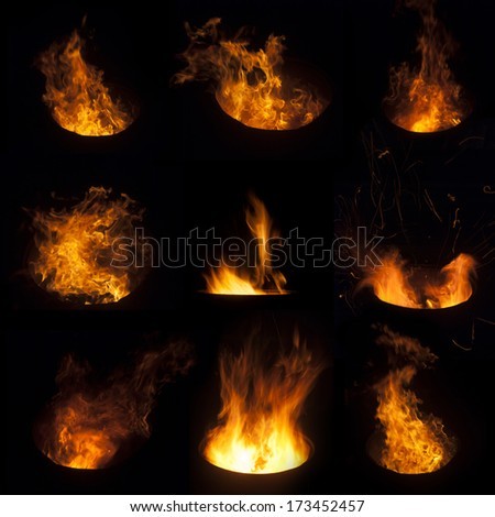 The biggest fire flame collection (fire in the barrel) - stock photo