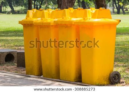 The bin in garden - stock photo