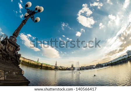 The Binnenalster in Hamburg on a sunny spring sunset. - stock photo