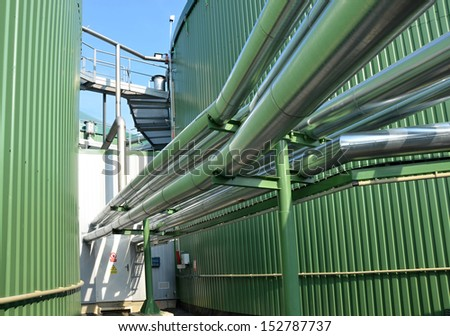 The biogas plant green energy  - stock photo