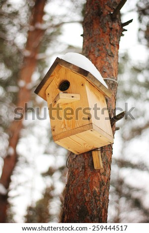 The birdhouse with a snow on the tree - stock photo