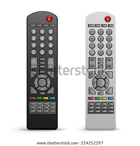 The black and white tv remote controller on the white background - stock photo