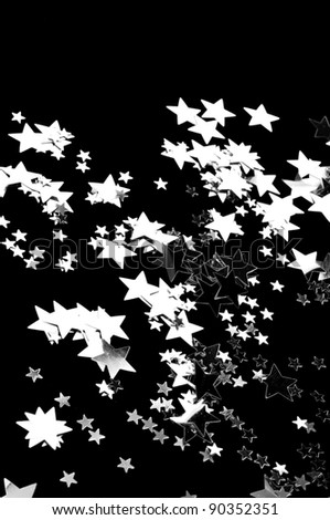 The black background whit silver stars . - stock photo