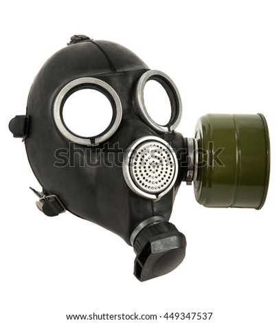 the black gas-mask close up, on white background; isolated - stock photo