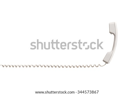 The black handset with a twisted wire, stretched horizontally. White handset is vertical, the wire is placed horizontally. Isolated on white background, close-up. - stock photo