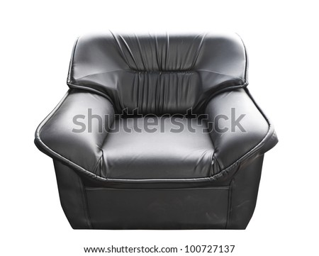 the black leather sofa isolated on white with clipping path - stock photo