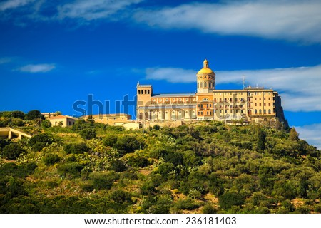 the Black Madonna Church tops the hill, its located in Tindari, Sicily, Italy - stock photo