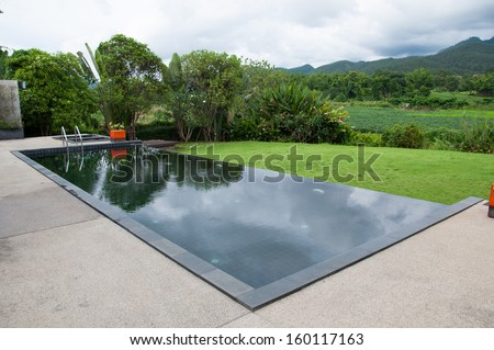 The black swimming pool with natural view stock photo for Piscine 50m montreal