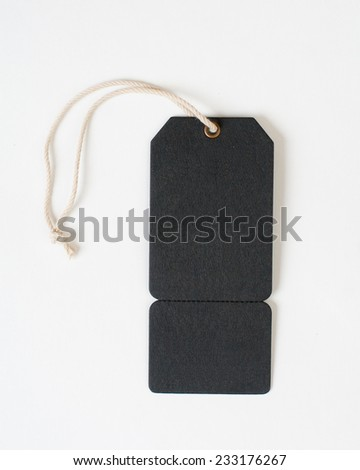 The black Tag with rope isolated - stock photo