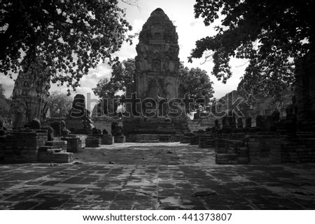 The Black White style of Buddha images hall and stupa in Wat Mahathat at Ayutthaya Historical Park.Thailand - stock photo