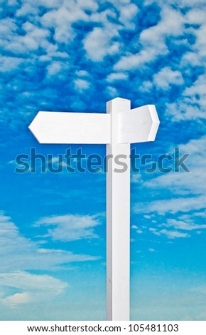 The Blank of sign direction isolated on blue sky background - stock photo