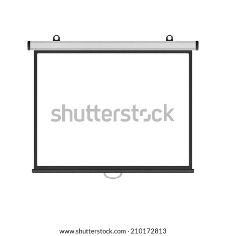 the blank projector screen isolated for presentation in business of paper illustration - stock photo