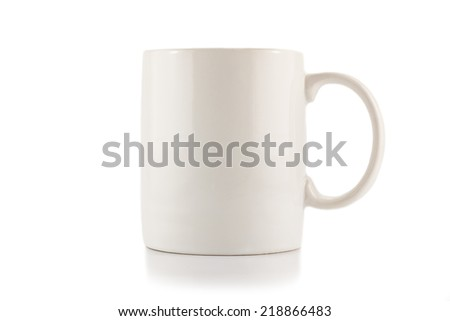 The blank White Cup  on white background - stock photo