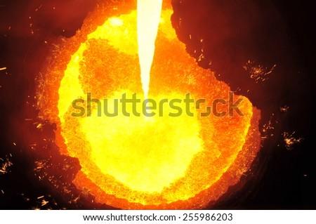 The blast furnace liquid metal - stock photo