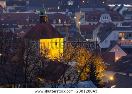 The Blasturm of Schwandorf in Bavaria at night - stock photo