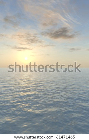 The blazing sun sets with a glowing peach-colored haze over a calm, tropical sea in this vertical image. A nice background for a greeting card. - stock photo