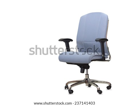 The blue cloth office chair isolated over white - stock photo