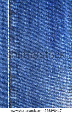 The blue denim jeans texture and stitch - stock photo