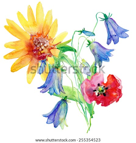 The blue flowers  drawn on a white background with water color paints. - stock photo